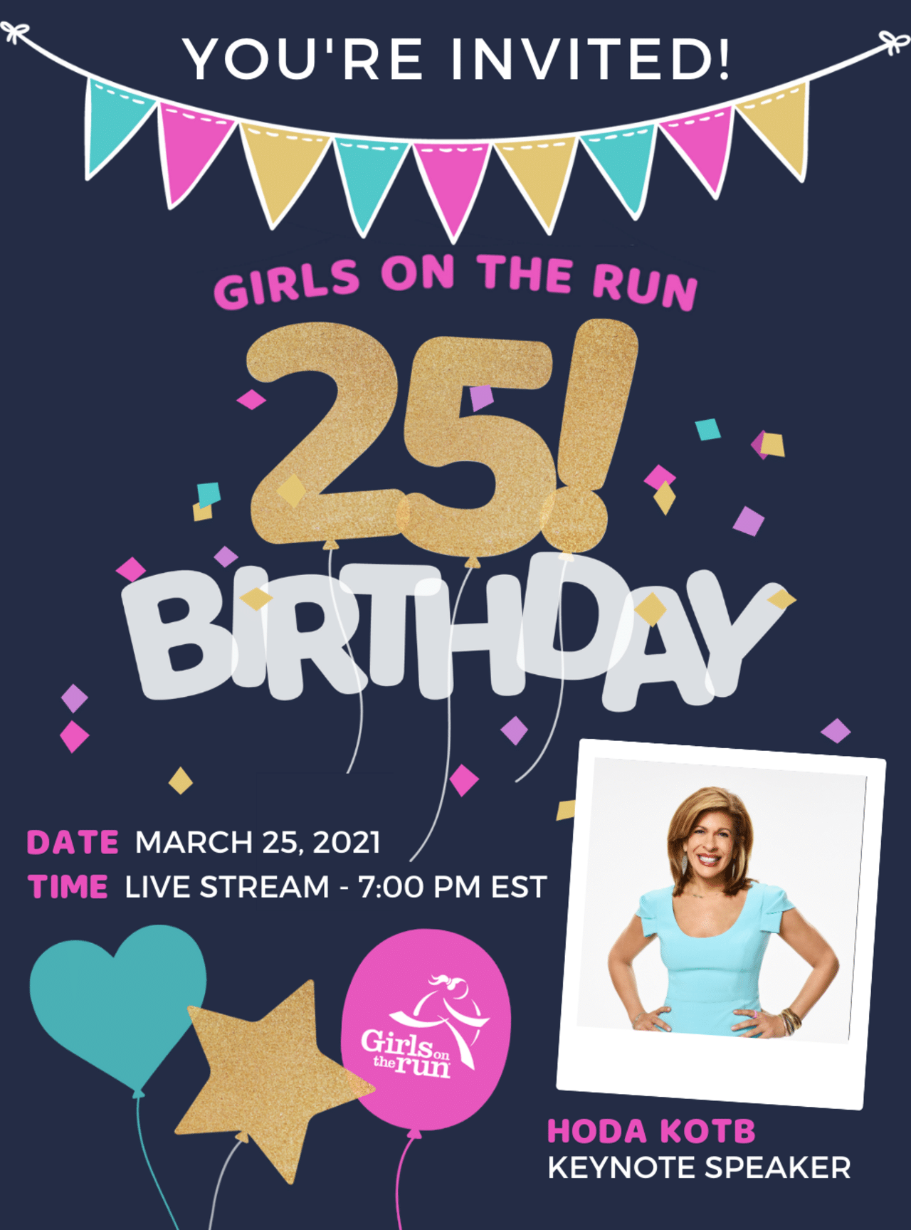 You're invited to the Girls on the Run 25th Birthday virtual celebration event!
