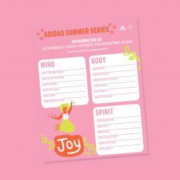 Adidas Summer Series worksheet activity for girls.